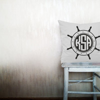 Ship wheel monogram pillows decorative throw pillows monogrammed letter pillows monogrammed throw pillows outdoor pillow 12x18 inches pillow