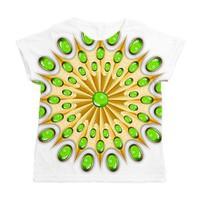 Mandala Gold and Emeralds Women's All Over Print T> Mandala Gold and Emeralds> BluedarkArt
