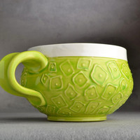 Hip To Be Squares Mug Made To Order Neon Green Slip-trailed Soup/Cocoa Mug