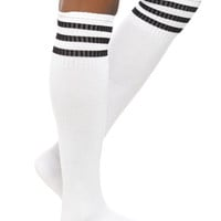White And Black Cushioned Knee-High Crew Socks