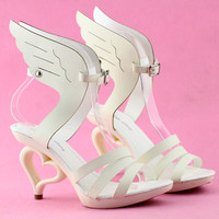 Angel Wings Dancing Strappy Heart Bride Wedding Party Sandals - SM36822BGEvening dress