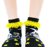 Yin Yang Kitty Ruffle Ankle Socks