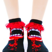 Bite Me Fangs Ruffle Ankle Socks
