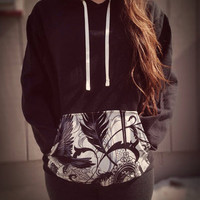 "Alexander Henry ""After dark"" print pocket hoodie"