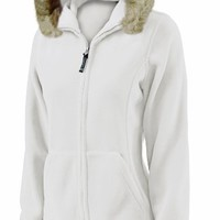 Charles River Apparel Women's Faux Fur Trimmed Fleece Hoodie