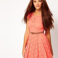 River Island | River Island Lace Skater Dress With Cap Sleeve at ASOS
