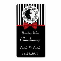 Black and White Yinyang Lesbian Wedding Wine