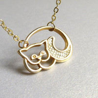 Gold Cat Necklace Gold Kitty Necklace Gold and Silver Necklace