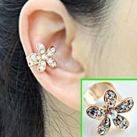 Flower Rhinestone Ear Cuff (Single, No Piercing)