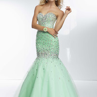 Mori Lee 95055 - Mint Strapless Beaded Mermaid Prom Dresses Online