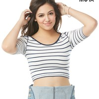 Striped Scoop-Back Crop Top