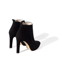 SUEDE AND LEATHER HIGH HEEL ANKLE BOOT
