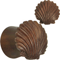"1/2"" Organic Sabo Wood Ariel's Shell Hand Carved Plug Set 