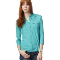 3/4 Sleeve Solid Popover Top