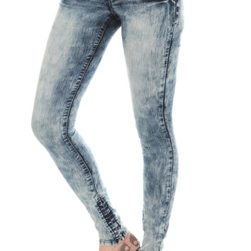 LOVEsick Blue Acid Wash Super Skinny Jeggings