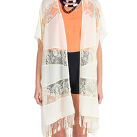 Lush Clothing - Laced Fringed Cardigan