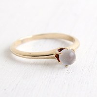 Antique Victorian 14k Yellow Gold Moonstone Ring - Vintage Size 9 Edwardian Early 1900s Clear Stone Fine Jewelry