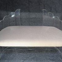 "Sculptural Clear Lucite ""Wing"" Bench by Hill Mfg. attr. Charles Hollis Jones"