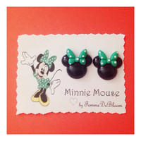 Handmade Green Bow Minnie Mouse Earrings Disney St Patricks day