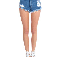 High Rise Medium Wash Denim Shorts