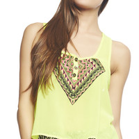 Button Embroidered Keyhole Crop Tank | Wet Seal
