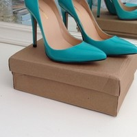 Aqua Blue Patent Pumps