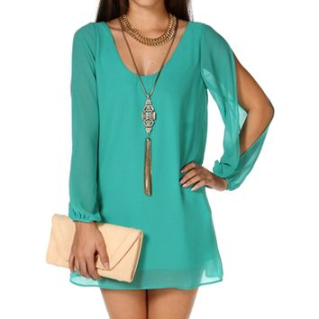 Emerald Slit Sleeves Tunic