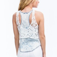 Sweet And Sour Chambray Crochet Tank