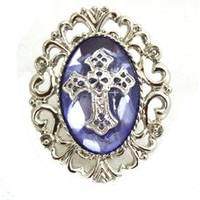 Purple Stone Gothic Cross Ring