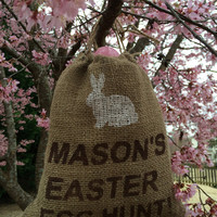 Easter Egg Hunt Burlap Bag with bunny, Personalized jute bag for easter