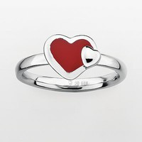 Stacks & Stones Sterling Silver Red Enamel Heart Stack Ring