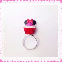 Handmade Hot Pink Cupcake Adjustable Ring Silver