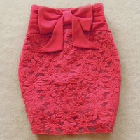 Slim Bow Gauze Skirt