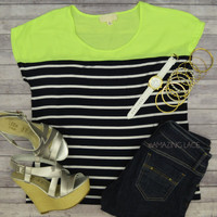 Sandpiper Neon Lemon Striped Top