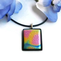 "Handmade Dichroic Pink Blue Yellow ""Pixie Stick"" Pendant Pewter Bail 