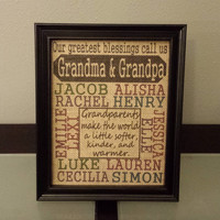 Framed Burlap Print - Our Greatest Blessings Call Us Grandma and Grandpa - Personalized - Gift - Family - Christmas - 8x10