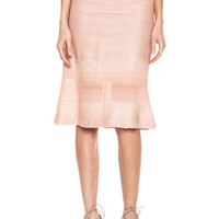 Cross Stripe Jersey Skirt in Blush