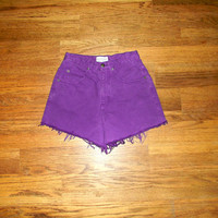 Vintage Denim Cut Offs - 90s Purple Jean Shorts - High Waisted Cut Off/Frayed SHORT Shorts by Westport American Denim - Size 3/4