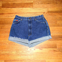 Vintage Denim Cut Offs - 80s Dark Acid Washed Blue Jean Shorts - High Waisted Cut Off/Rolled Up/Distressed LEE Shorts - Size 11/12