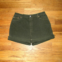 Vintage Denim Cut Offs - Vintage 90s Olive/Army Green Denim Jean Shorts - Cut Off/Frayed High Waisted LEVIS Brand Shorts - Size 14 Plus Size