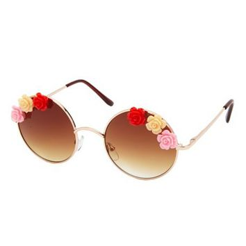 ROSE-TRIMMED ROUND SUNGLASSES