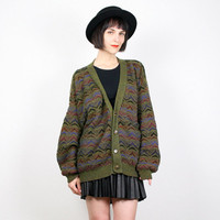 Vintage Olive Green Sweater Moss Green Coogi Sweater Style Textured Knit V Neck Cardigan 1980s 80s New Wave Techno Oversized L Large XL