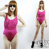 Vintage Swimsuit Vintage 80s Pierre Cardin Pink One Piece Bathing Suit XS S Pink Swimsuit 80s Swimsuit One Piece Swimsuit Designer Swimsuit