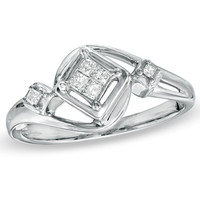 Cherished Promise Collection™ 1/10 CT. T.W. Princess-Cut Quad Diamond Promise Ring in Sterling Silver - Size 6 - View All Rings - Zales