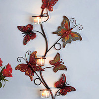 Butterfly Wall Candle Sconce Decorative Metal Wall Art Holds 3 Tea Lights New