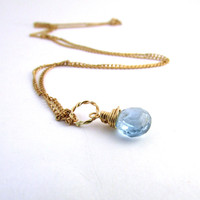 Aquamarine necklace, March birthstone necklace, pale blue aquamarine pendant, 14K gold filled wire wrapped necklace, aquamarine jewelry