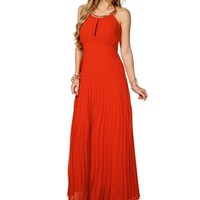 GiGi- Orange Halter Long Dress
