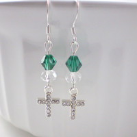 Teal Crystal Cross Earrings, Teal Earrings, Cross Earrings, Charm Earrings, Crystal Earrings, Dainty Earrings, Crystal Cross