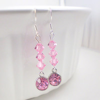 Light Pink Swarovski Drop Earrings, Pink Earrings, Light Pink Earrings, Swarovski Earrings, Pink Drop Earrings, Pale Pink Earrings