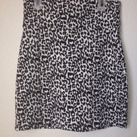 Black And White Leopard Cheetah Print Waist Band Mini Skirt By Imagenation SizeL